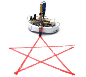 A iRobot Create beefed up with an ARM microcontroller and a mechanical actuator to control a marker. Control software to parse any svg file and send wirelessly to the robot to draw on the floor.