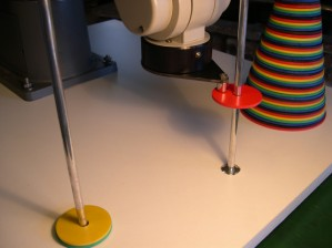 Solving the Towers of Hanoi puzzle with a RV-M1 industrial robot arm and Processing