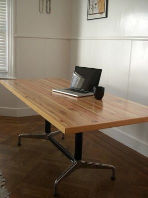 Handmade laminated table top from reclaimed lumber