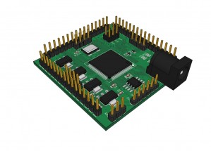 A 5cm x 5cm Xilinx FPGA board based on the Papilio One